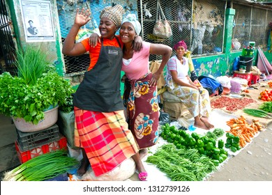 Maputo, Mozambique-2018-06-28: African people selling Vegetable in the fresh market at Maputo, Mozambique