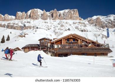 MAR 04, 2018: Fodom Refuge in Arabba ski region of Italian Dolomites