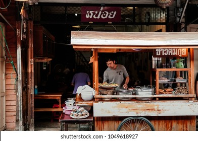 MAR 1, 2018 Uthaithani, Thailand : Thai local street food rice and noodle shop in Uthaithani  by home cooking chef