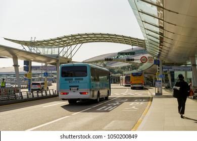Mar 18,2018 Bus arrive at Departure area at Incheon airport, Incheon city, Korea
