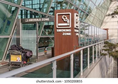 Mar 18,2018 at front of Smoking area at Incheon airport departure floor, Incheon city, Korea