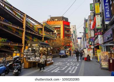 Mar 18,2018 People waking to Myeongdong shopping street, Seoul, Korea