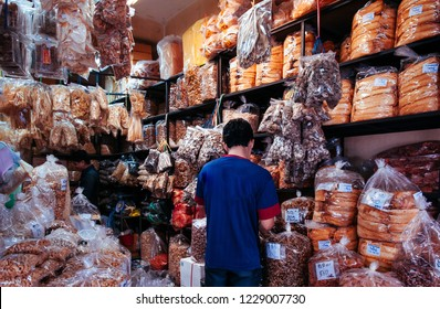 MAR 2, 2013 Songkhla, Thailand - Various kinds of dried food ingredients and dried seafoods shop at Kim Yong Market famous wholesale market in  Songkhla province - Thailand