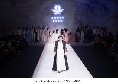 Mar 26, 2019 - Beijing, China:  Model on catwalk on Grace Chen Show during China Fashion Week A/W 2019, at Beijing Hotel, on March 26, 2019, in Beijing, China.