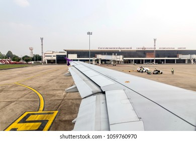 Mar 28, 2018, Ubon Ratchathani, Thailand; Photos of aircraft wing from the window of Thai Airways plane while taking off from Ubon Ratchathani international airport.