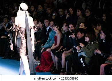 Mar 31, 2019 - Beijing, China:  Model on catwalk on Beautyberry by Wang Yutao Show during China Fashion Week A/W 2019, at Beijing 751 D.park on March 31, 2019, in Beijing, China.
