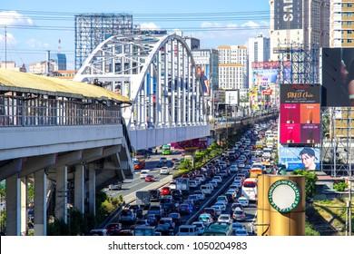 Mar 9,2018 rush hour at Epifanio de los Santos Avenue(EDSA) in Manila, Philippines