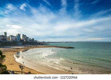Mar Del Plata, Argentina - 26 Octubre, 2018: City beach is ready to meet tourists