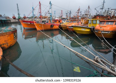 Mar del Plata, Argentina - September 19 2016: These small boats go fishing at dawn and return at sunset. They are piloted by their owners and sell fresh fish in local shops