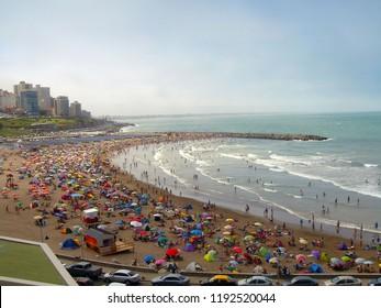 Mar del Plata City in Argentina. Atlantic Ocean. Buenos Aires Beach. Summer.