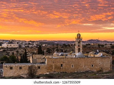 Mar Elias (Elijah) Monastery at sunset, Jerusalem