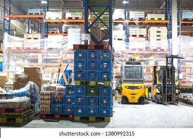 Mar.21.2019-Seoul Korea, Modern warehouse with stack of cartons