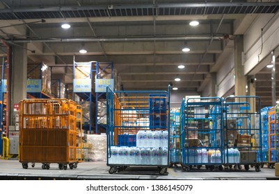 Mar.21.2019-Seoul Korea, Modern warehouse with stack of cartons