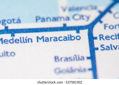 Maracaibo, Venezuela on a geographical map.