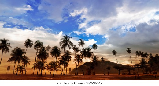 Maracas Beach Panorama in Trinidad and Tobago