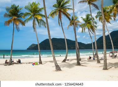 Maracas beach / Trinidad - May 5, 2016: People relaxing on the Maracas beach in North Trinidad