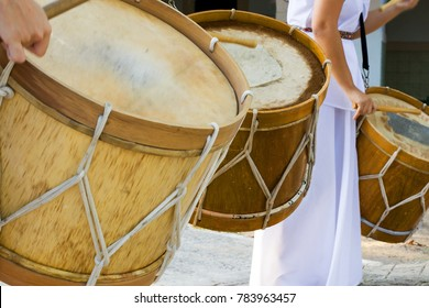 Maracatu drums, a musical rhythm of cultural feasts typical of northeastern Brazil
