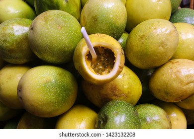 Maracuja passion fruit, Passiflora edulis on the market in Madeira