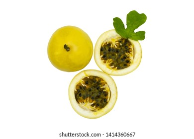 Maracuya vs Passion Fruit original food isolated on white background