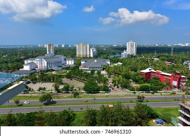 MARADU, KOCHI, KERALA, INDIA, NOVEMBER 01, 2017: Aerial view of Kochi from the terrace of Hotel Crowne Plaza on a bright sunny day.