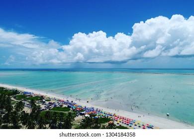 Maragogi, Alagoas, Brazil. Fantastic landscape. Great beach scene. Paradise beach with tourquise water. Dream, peace, balance, relax, inspiration.