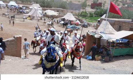 Marakesh, Morocco - 07 12 2016: Moroccan Berber horsemen