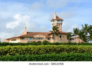 Mar-a-Lago on Palm Beach Island, Palm Beach, Florida, USA. Mar-a-Lago is Palm Beach's grandest mansion built in 1927.