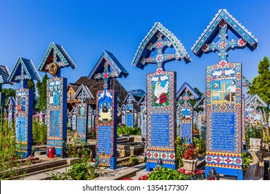 Maramures, Romania: 4 August, 2018 - Merry Cemetery (Cimitirul Vesel) in Sapanta village, northern Romania.