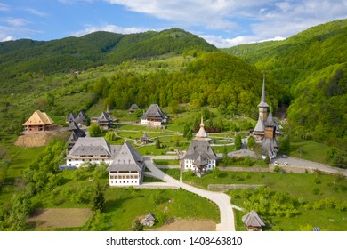 Maramures, Romania. Wooden church of Barsana monastery, Transylvania landmark.