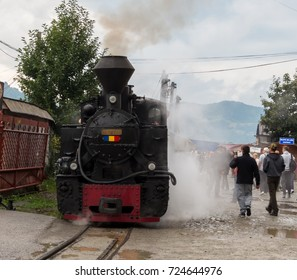 MARAMURES/ROMANIA-SEPTEMBER 3, 2017: Steam train, representing one of the touristic attractions in Maramures, the narrow-gauge railway being the only one in Europe still used for timber transport