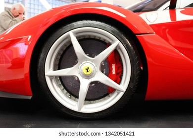 Maranello, Italy - 03 26 2013: museum exhibits, close up a wheel of a sport car in the Ferrari museum