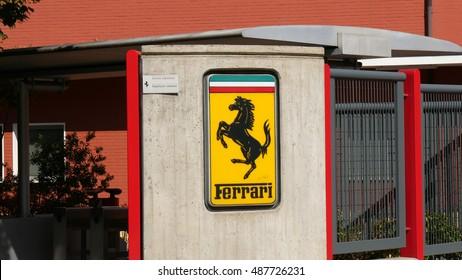 MARANELLO, ITALY - CIRCA SEPTEMBER 2016: the logo of Ferrari at the entrance of the factory in Maranello, Italy.
