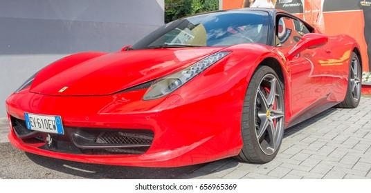 ferrari 458 italia 2017. maranello, italy - june 10, 2017: ferrari 458 italia at the autoshow in 2017