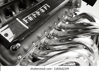 MARANELLO, ITALY - JUNE 16, 2008: Ferrari Enzo engine from Galleria Ferrari museum.