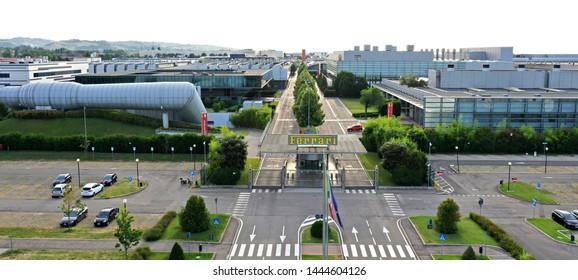 Maranello, Modena, Italy - 07/07/2019: Aerial view of Ferrari car factory complex