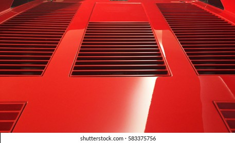 Maranello, Modena, Italy - August 2016, Ferrari GTO Red Car Bonnet