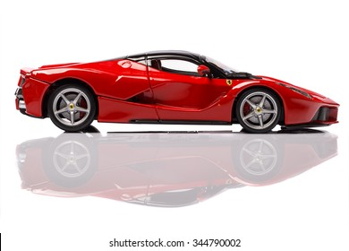 MARANELLO, PROVINCIA DI MODENA, ITALY - OCT 04 - Model of ferrari laferrari on white background, Sunday 04 October 2015