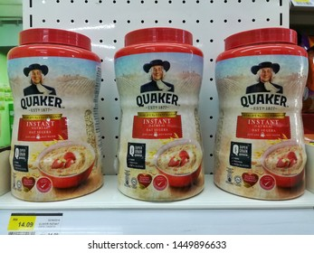 Marang, Terengganu - July 1, 2019 :Instant Oatmeal products by Quaker at local stores