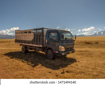 Maras, Peru - May 20, 2016: Truck in the Andes mountains near Moray ruins, in the Sacred Valley of the Incas, Maras. Peru. South America.