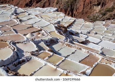 Maras, Peru -  Salt evaporation ponds at the Maras salt mines