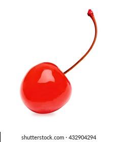 Maraschino cherry isolated on white background