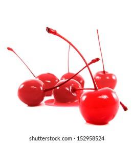 Maraschino cherry juice melt isolated on white background