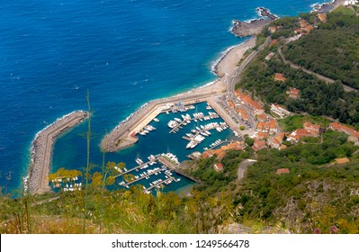 Maratea, Basilicata, Italy - A view from the top of the port of Maratea, (Porto di Maratea) is a popular marina on the Tyrrhenian seacoast in southern Italy, on a sunny day in June.