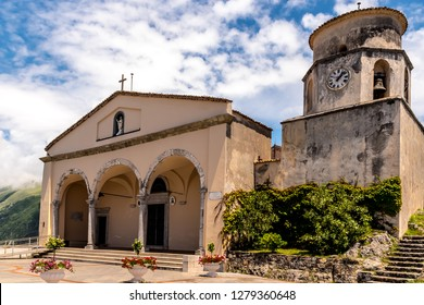 """MARATEA, BASILIKATA, ITALY - The catholic church Basilica of San Biagio with bell tower, in the district of Maratea, on the mountain San Biagio, on the Tyrrhenian seacoast in the south of Italy."""