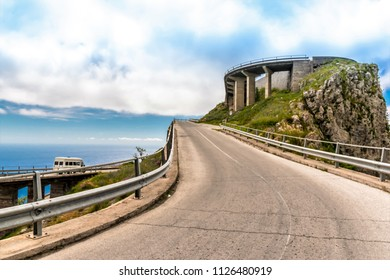 MARATEA, BASILIKATA, ITALY - A viaduct of the road that leads to the top of Monte San Biagio, where the statue of Christ the Redeemer stands. Overlooking Bay of Maratra in the Tyrrhenian Sea.