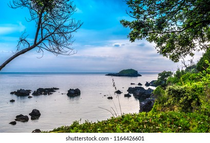 MARATEA, BASILIKATA, ITALY - A view at the rocky coast on the Tyrrhenian seacoast in the south of Italy at Maratea on a day in May.