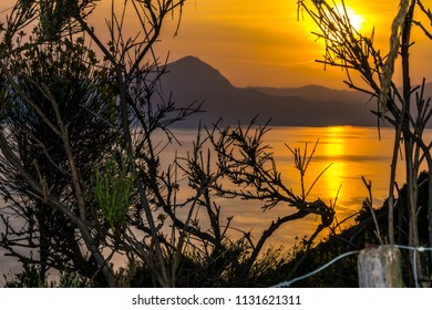 MARATEA, BASILIKATA, ITALY - A wonderful sunset on in the bay of Maratea with a view of the mountain San Biagio in June.
