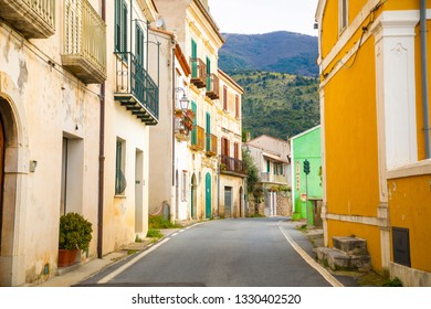 Maratea, Italy - 5.02.2019: A narrow street without people in the old town of Maratea on the coast in the south of Italy