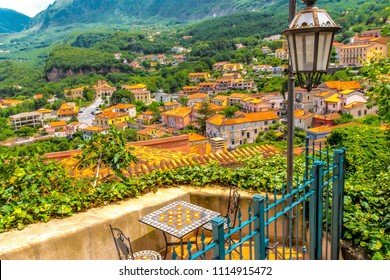 MARATEA, ITALY - A beautiful seating area overlooking the old town of Maratea in Basilka in the south of Italy.