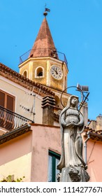 MARATEA, ITALY - The bell tower of the church Basilica Santa Maria Maggiore in the historic center of Maratea in the south of Italy.